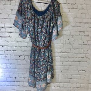 Paisley flowy boho dress with Gap leather belt
